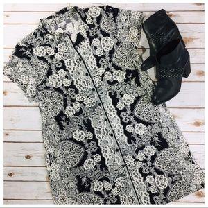 Floral & Lace Raised Print Dress SZ 18/20